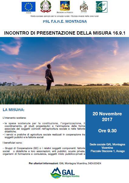 """Incontro di presentazione del tipo d'intervento 16.9.1 """"Creazione e sviluppo di pratiche e reti per la diffusione dell'agricoltura sociale e delle fattorie didattiche"""""""